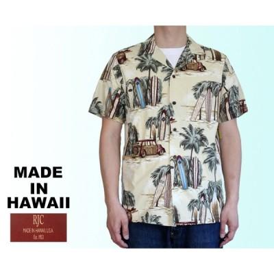 RJC ロバート・J・クランシー アロハシャツ メンズ サーフボード ハワイ製 ベージュ コットン