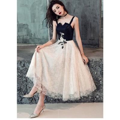 期限セール! ミモレドレス プリンセスドレス 花嫁の介添えドレス 結婚式 二次会 演奏会 発表会 披露宴 ウエディングドレス パーディードレス 刺繍