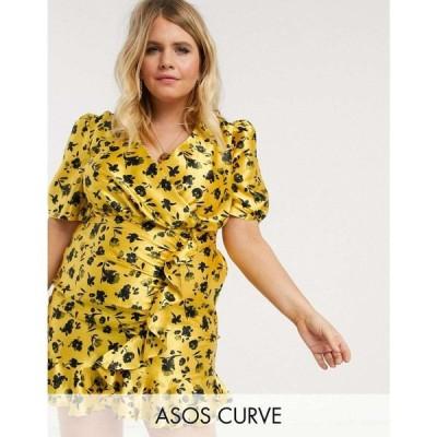 エイソス ASOS Curve レディース ワンピース asos design curve satin wrap mini tea dress with ruched skirt in ditsy floral print