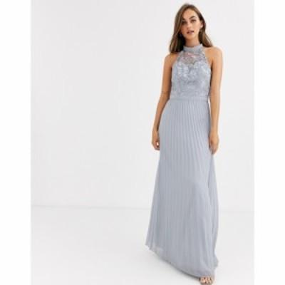 チチロンドン Chi Chi London レディース ワンピース マキシ丈 ワンピース・ドレス Lace Detail Maxi Dress With Pleated Skirt In Grey