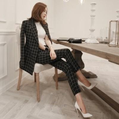 韓国 ファッション レディース セットアップ パンツスーツ ワイドパンツ 2点セット 上下 ジャケット セットアップ ツーピース レディース