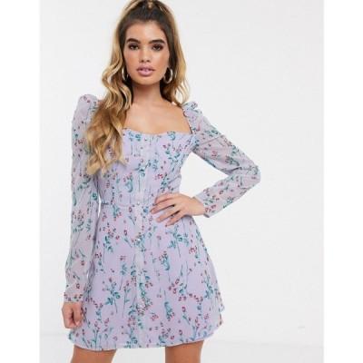ミスガイデッド Missguided レディース ワンピース スケータードレス ワンピース・ドレス square neck skater dress in lilac ditsy floral ライラック