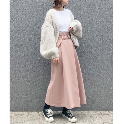 スカート 【手洗いできる】【消臭効果】ベルト付きハイウエスト ラップ風スカート