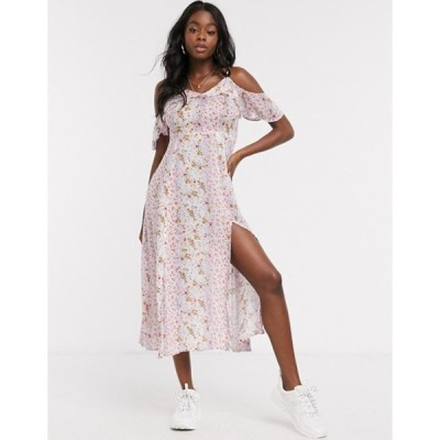エンクリーム レディース ワンピース トップス En Creme cami stap midi dress in mixed floral print