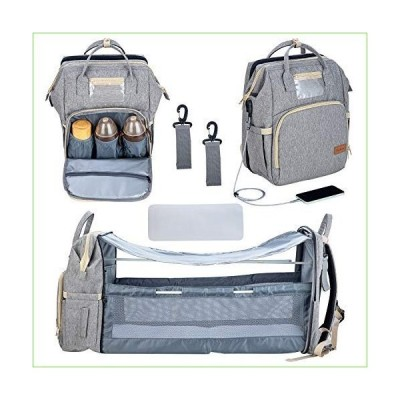 5 in 1 Diaper Bag Backpack Portable Mummy Bag Waterproof Travel Bag with USB Charging Port Portable Changing Station(Grey)「並行輸入品