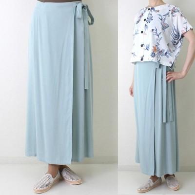 ミントグリーンロングラップ風スカート