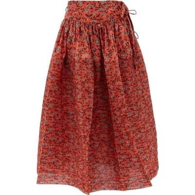 ホラーヴァキュイ Horror Vacui レディース ひざ丈スカート スカート Toga floral-print cotton midi skirt Red