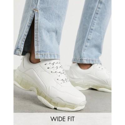 パブリックディザイア Public Desire Wide Fit レディース スニーカー シューズ・靴 Loaded trainers with clear sole detail in white ホワイト