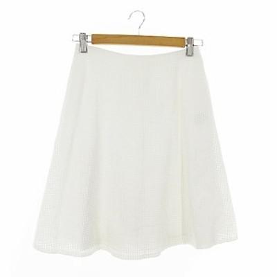 【中古】アナイ ANAYI スカート フレア ひざ丈 カットワーク 38 白 ホワイト /AAM29 レディース