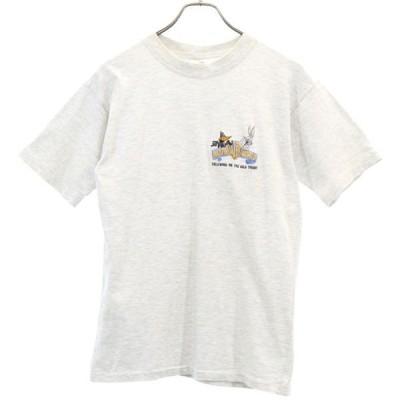 ワーナーブラザーズ 90s 刺繍 半袖 Tシャツ S 杢ホワイト Warner Bros オーストラリア製 メンズ 古着 200603 メール便可