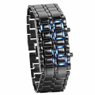 腕時計  レディース メンズ 腕時計  ファッション ノベルティ ラバ レッド ブルー LED デジタル ステンレススチール ブラック ブレスレッ
