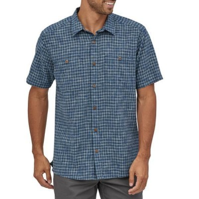 パタゴニア メンズ シャツ トップス Patagonia Back Step Short-Sleeve Button-Down Shirt Ikat Net: Stone Blue