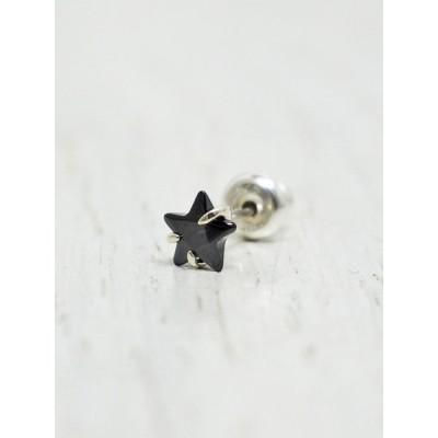 amp japan(アンプジャパン) Black Star Pierce ブラックスターピアス 16AJK-520 / キュービックジルコニア / 星 / シルバー925 / メンズ