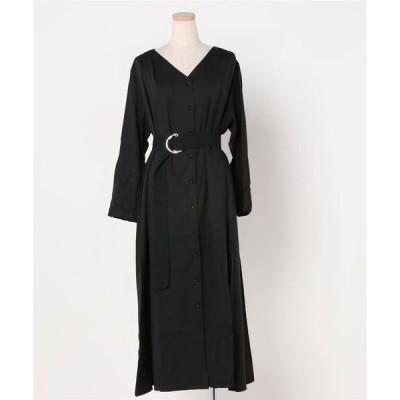 ドレス Vネックベルト付き長袖ワンピースドレス