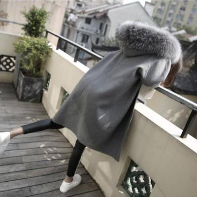 チェスターコートレディースアウターコート無地ファー付き通勤カジュアル2020秋冬新作修身着痩せ暖かい韓国風ゆったりレディースコートS-XL
