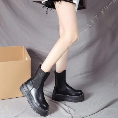 厚底 ブーツ レディース ショートブーツ 5cmヒール ラウンドトゥ アンクルブーツ サイドゴア マーティンブーツ ブーティ 歩きやすい 疲れない ブーツ 美脚