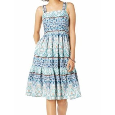 Vince ヴィンス ファッション ドレス Vince Camuto NEW Blue Women Size 10 Paisley Print A-Line Sheath Dress