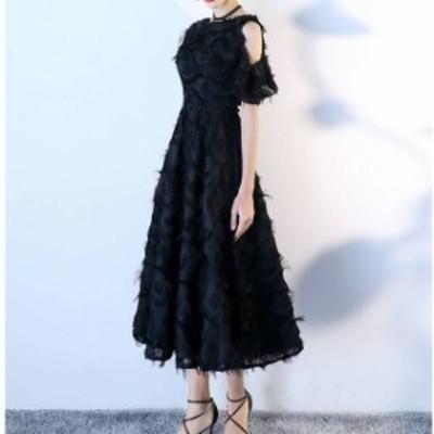 カットオフショルダー 体型カバー ミモレ丈 ロングスカート フォーマルワンピース レディース フォーマル 結婚式 お呼ばれ ドレス 20代 3