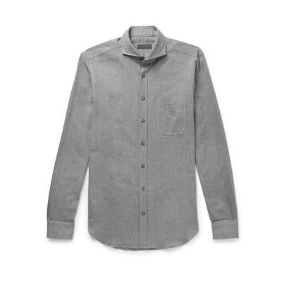 THOM SWEENEY 柄入りシャツ ファッション  メンズファッション  トップス  シャツ、カジュアルシャツ  長袖 グレー