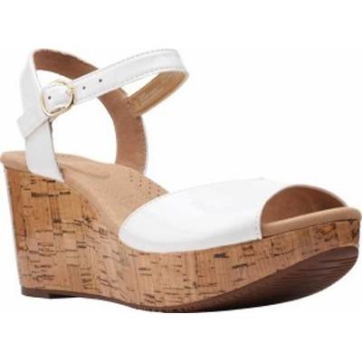 クラークス レディース サンダル シューズ Women's Clarks Annadel Mystic Ankle Strap Wedge Sandal White Patent Synthetic