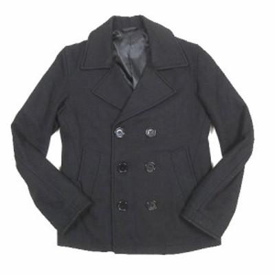 【中古】ブラウニー BROWNY Pコート ピーコート ジャケット ブルゾン メルトン 無地 S 黒 ブラック/11 メンズ