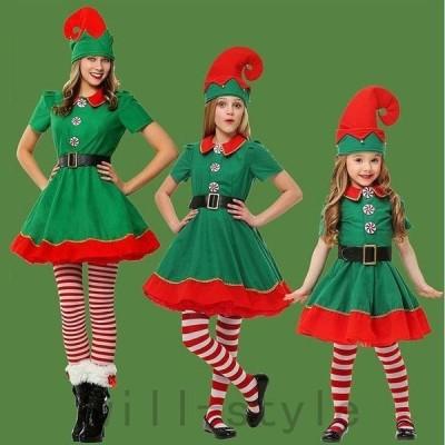 レディースキッズクリスマスツリーコスコスプレ衣装親子姉妹コーデお揃いワンピースグリーンスカートサンタイベントステージ女の子