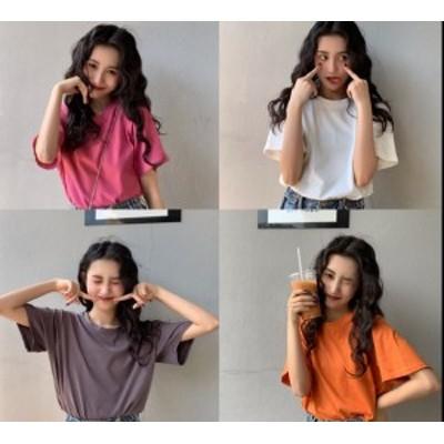 トップス Tシャツ コットン 半袖 ショート丈 ゆったり 大人可愛い 秋 白 ピンク グレー オレンジ 10代 20代 30代 お出かけ デート 着ま