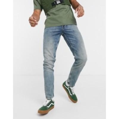 エイソス メンズ デニムパンツ ボトムス ASOS DESIGN stretch slim jeans in vintage tint wash Dark wash blue