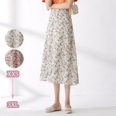 花柄 シフォン セクシー タイトスカート エレガント ハイウエスト 大きいサイズ 着痩せ効果