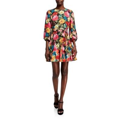 アリス アンド オリビア レディース ワンピース トップス Mina Puff-Sleeve Godet Dress w/ Belt