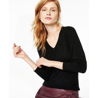 チャータークラブ ニット&セーター アウター レディース V-Neck Cashmere Sweater, Regular & Petite Sizes Classic Black