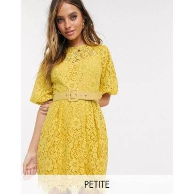 リトルミストレス ミディドレス レディース Little Mistress Petite belted lace mini dress in yellow エイソス ASOS イエロー 黄