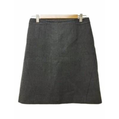 【中古】アンタイトル UNTITLED スカート 台形 ミニ ウール 無地 2 グレー レディース