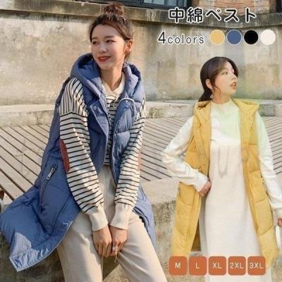 中綿ジャケットコートベストレディース中綿コートフード付きノースリーブアウター秋冬服防寒着痩せ可愛いおしゃれ