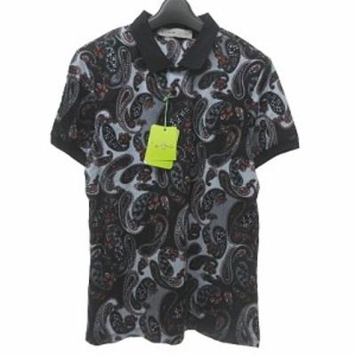 【中古】未使用品 エトロ ETRO ポロシャツ 半袖 総柄 ペイズリー 黒 グレー 赤 M 0112 ECR メンズ