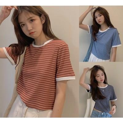 全3色 半袖Tシャツ 切り替え バイカラー ショット丈 体型カバー 着痩せ ボーダー柄 シンプル カジュアル
