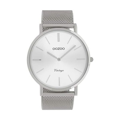 Oozoo Vintage Men's Watch with Solid Chunky Mesh Stainless Steel Milanese Metal Strap 44 mm Silver/Silver C9904 並行輸入品
