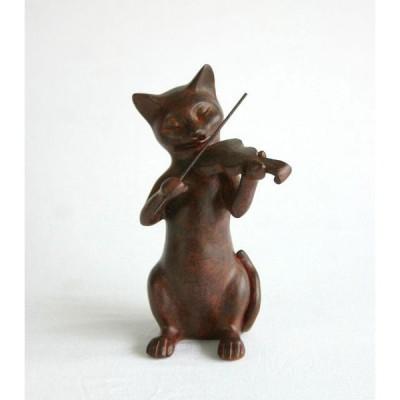 Rust Cat バイオリン ネコ置物 ねこグッズ 猫雑貨 ギフト