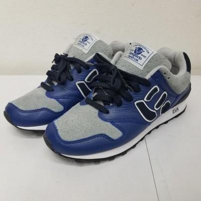 USED 古着 スニーカー スニーカー Sneakers SANGACIO サンガッチョ にゅ レザー&スエード ローカット スニーカー ブルー グレー にゅ〜レザー 10016067