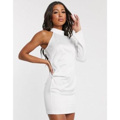 ミスガイデッド Missguided レディース ワンピース ワンピース・ドレス satin one shoulder ruched side mini dress in white ホワイト