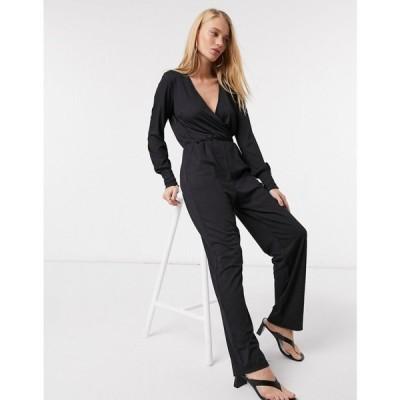 ワイ エー エス Y.A.S レディース オールインワン ジャンプスーツ ワンピース・ドレス Jumpsuit With Wrap Front And Button Cuff Plisse ブラック