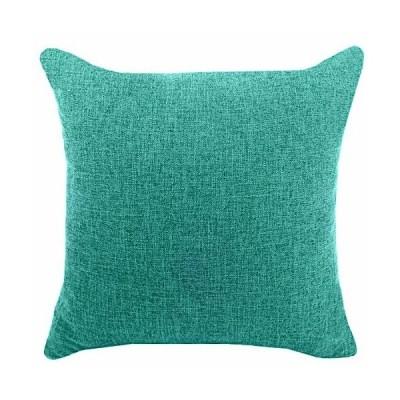 YAOJING 座布団カバー ピーコックブルー 45X45 リネン クッションカバー シンプル 純色 亜麻布 枕カバー おしゃれ