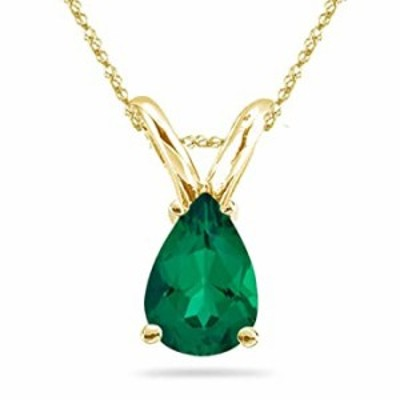 Lab Created Pear Cut Russian Emerald Solitaire Pendant in 14K Yellow Gold Available in 10x7mm - 14x9mm (14x9mm - 3.45-3.77 Cts)