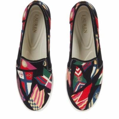 ラルフ ローレン LAUREN Ralph Lauren レディース スニーカー シューズ・靴 Jinny Sneaker Nautical Flag Print/Black Canvas