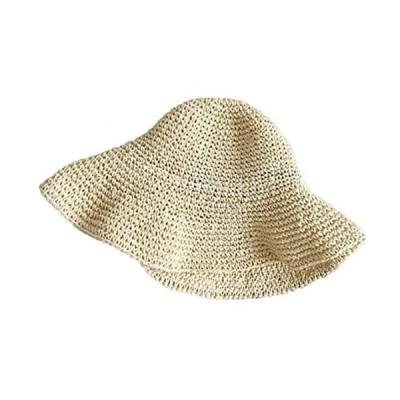 麦わら帽子 折りたたみ可 女っぽい 人気レーディスハット サイズ調節可 つば広 (ベージュ M)