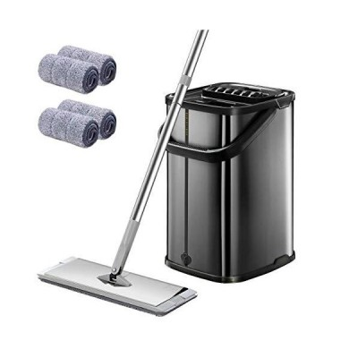 Black Squeeze Flat Floor Mop and Bucket Set,Stainless Steel Handle Adjustable, 4 Washable & Reusable Microfiber Mop Pads, Professional Comme