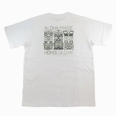 半袖 Tシャツ メンズ ALOHA MADE アロハメイド(メンズ/ホワイト) フララ二 チェーン刺繍 ハワイアン雑貨