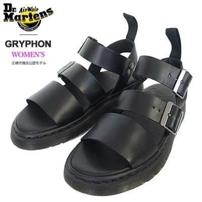 Dr.Martens ドクターマーチン GRYPHON グリフォン レディース レザー ベルトストラップ サンダル 15695001 BLACK BRANDO ブラック