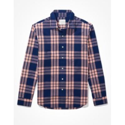 アメリカンイーグル メンズ シャツ トップス AE Plaid Button-Up Shirt Pink