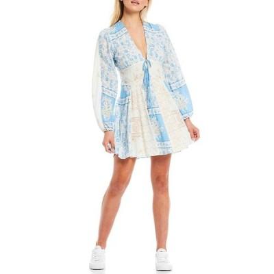 フリーピープル レディース ワンピース トップス Mixin It Up Long Sleeve V-Neck Mini Dress